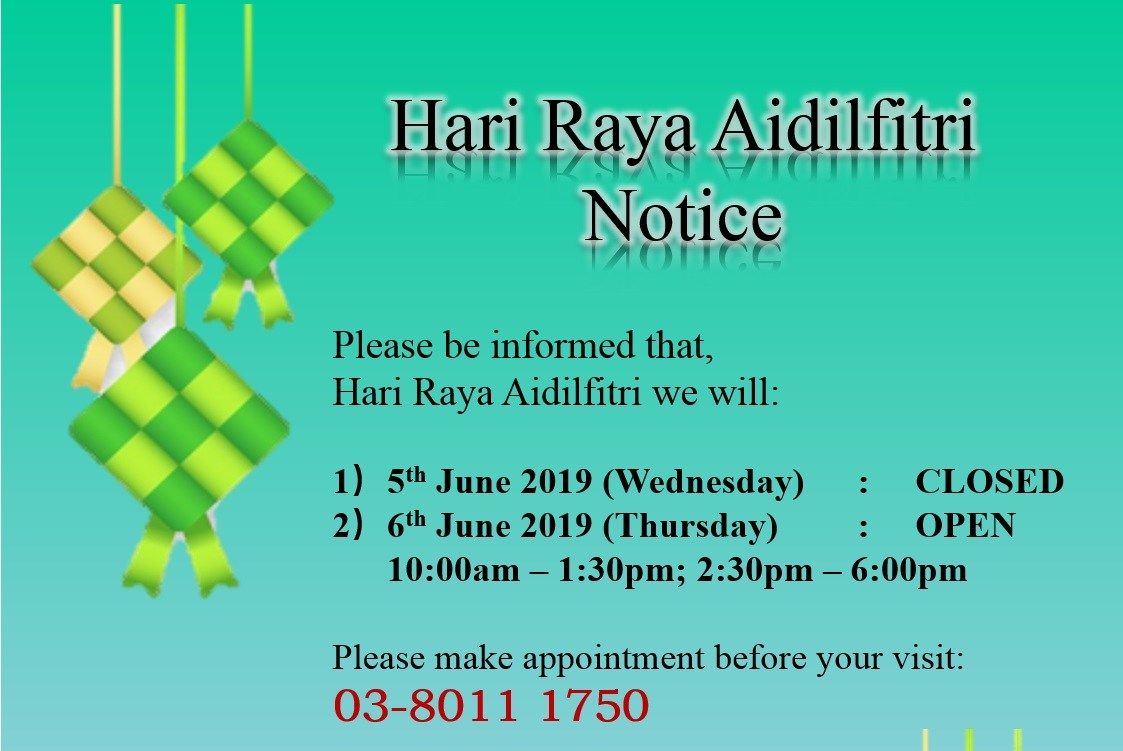 Hari Raya Aidilfitri Notice
